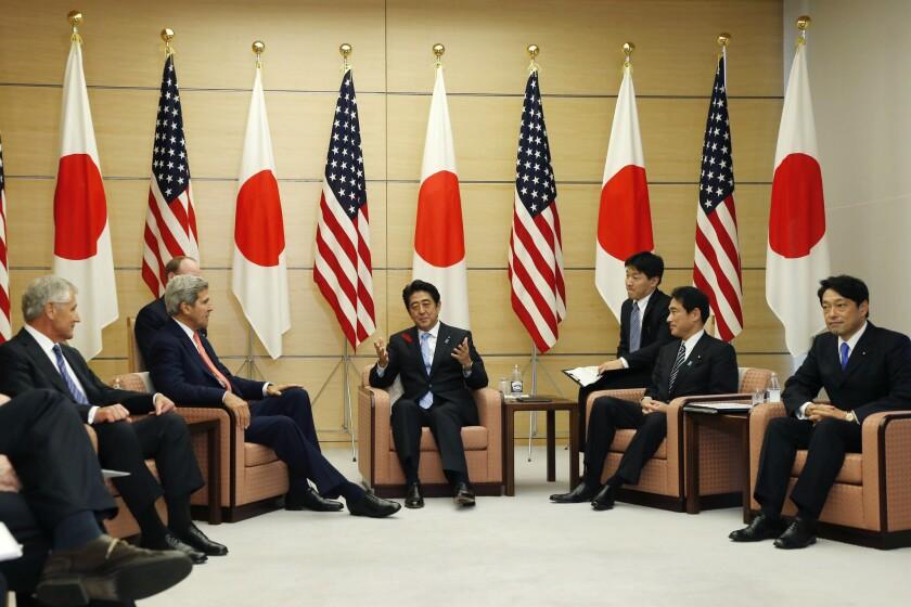 John Kerry, Chuck Hagel, Shinzo Abe, Fumio Kishida, Itsunori Onodera