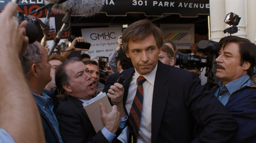 "Hugh Jackman, center, stars as presidential candidate Gary Hart in ""The Front Runner."""