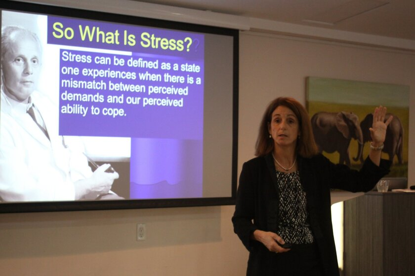 Dr. Mimi Guarneri speaks at the La Jolla Community Center about how to transform stress.