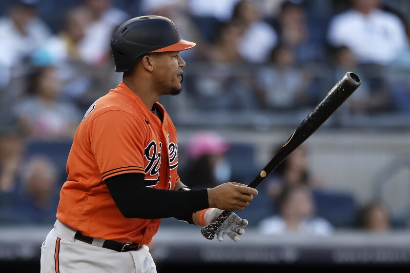 Baltimore Orioles' Pedro Severino watches his run scoring sacrifice fly against the New York Yankees during the ninth inning of a baseball game on Saturday, Sept. 4, 2021, in New York. The Orioles won 4-3. (AP Photo/Adam Hunger)