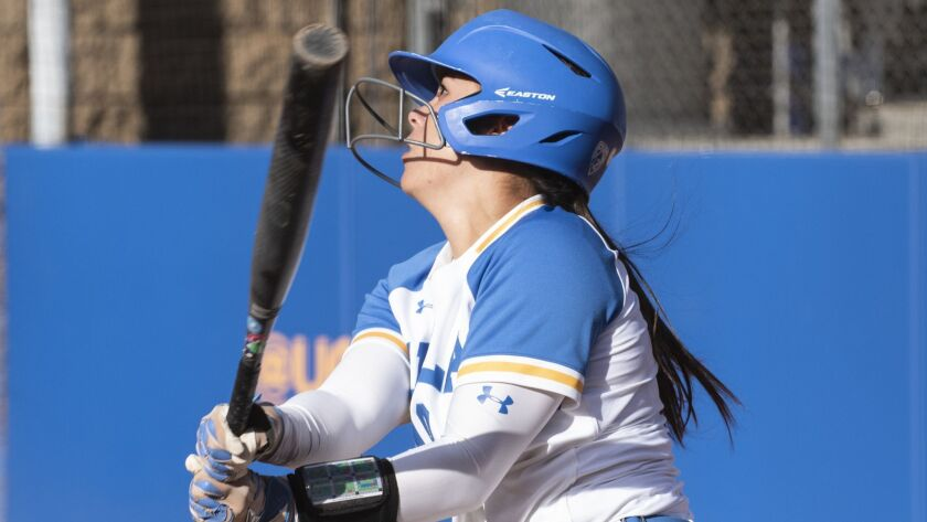 UCLA junior Bubba Nickles hits a double during game two of the NCAA Los Angeles Regional Championshi