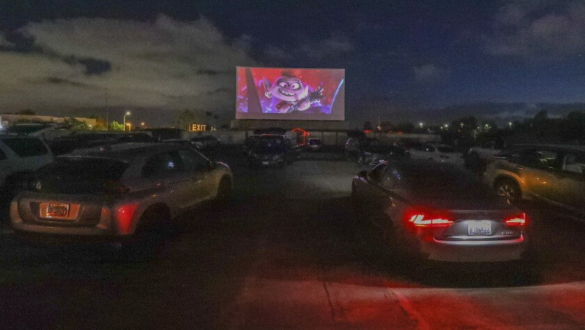 """Trolls World Tour"" drew dozens of cars to the South Bay Drive-In on a recent week night."