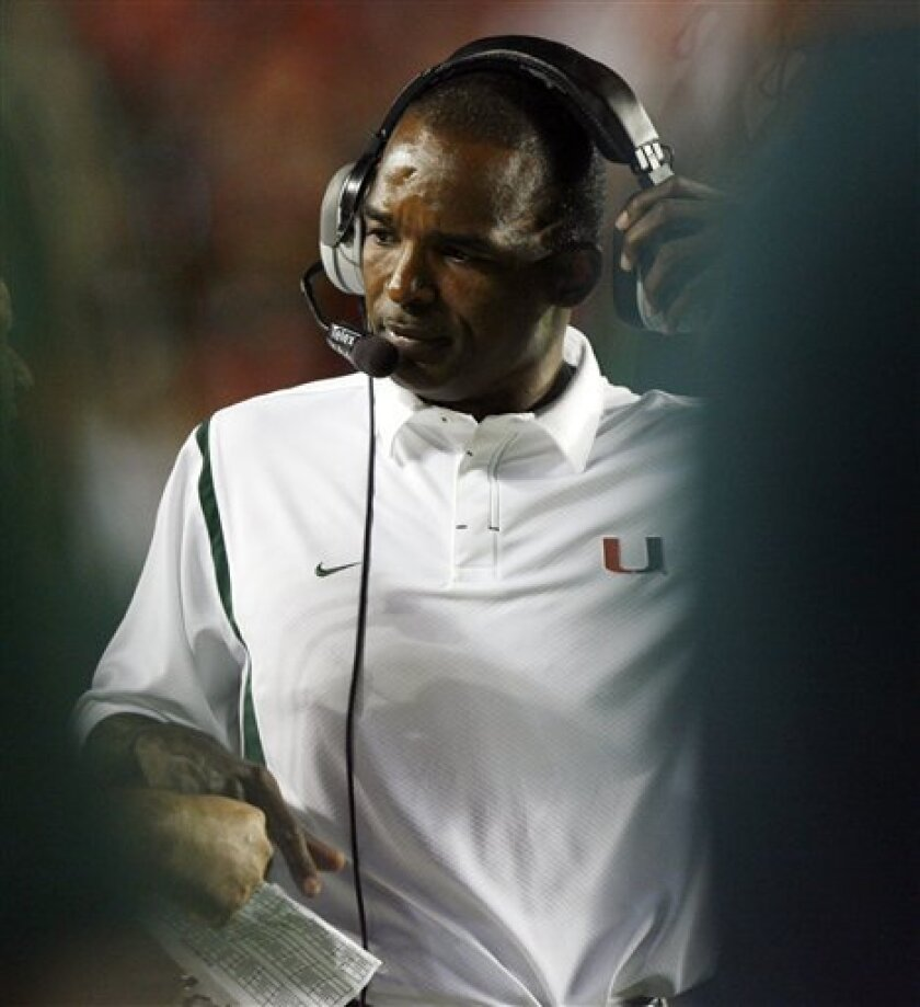 Miami head coach Randy Shannon watches from the sidelines during the first quarter against Florida A&M in an NCAA college football game Saturday, Oct. 10, 2009, in Miami. (AP Photo/Hans Deryk)