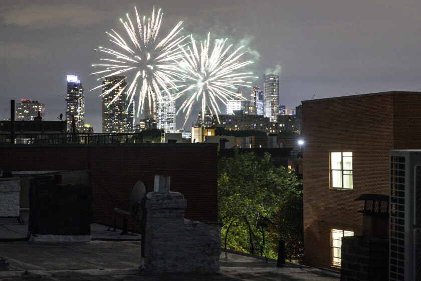 Fireworks explode during Juneteenth celebrations above the Bedford-Stuyvesant neighborhood in New York's Brooklyn borough.