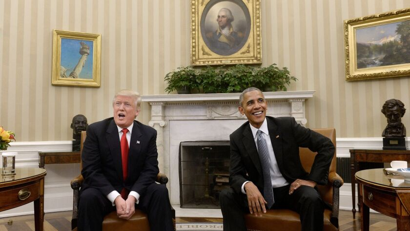 U.S. President Barack Obama meets with President-elect Donald Trump on Thursday, Nov. 10, 2016 in the Oval Office of the White House.