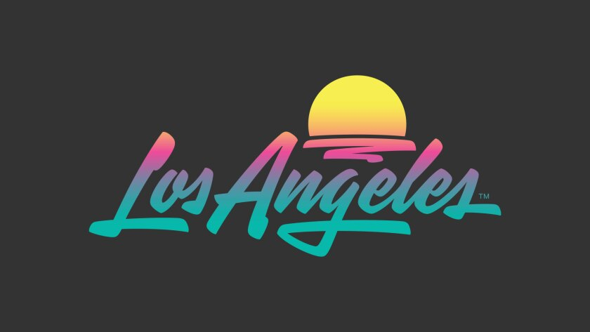 """A logo that reads """"Los Angeles"""" in turquoise, pink and orange also features a setting sun."""