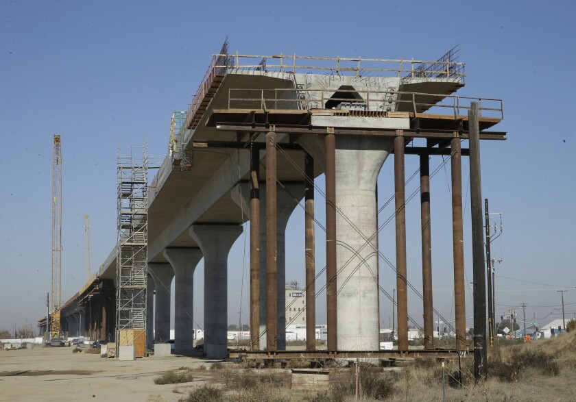 In this photo taken, Wednesday, Dec. 6, 2017, is one of the elevated sections of the high-speed rail