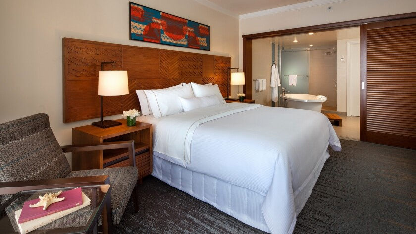 Beyond a comfy bedroom, an expansive bathroom complete with soaking tub awaits travelers at the Westin Nanea Ocean Villas. The resort features one-, two- and three-bedroom villas. (Westin Nanea Ocean Villas)