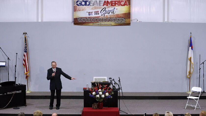 GOP Senate candidate Roy Moore speaks at the Walker Springs Road Baptist Church in Jackson, Ala., on Nov. 14.