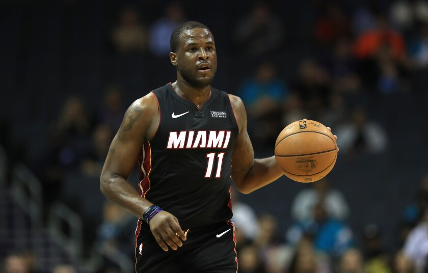 Heat guard Dion Waiters brings the ball up the floor during a game against the Hornets on Oct. 9.