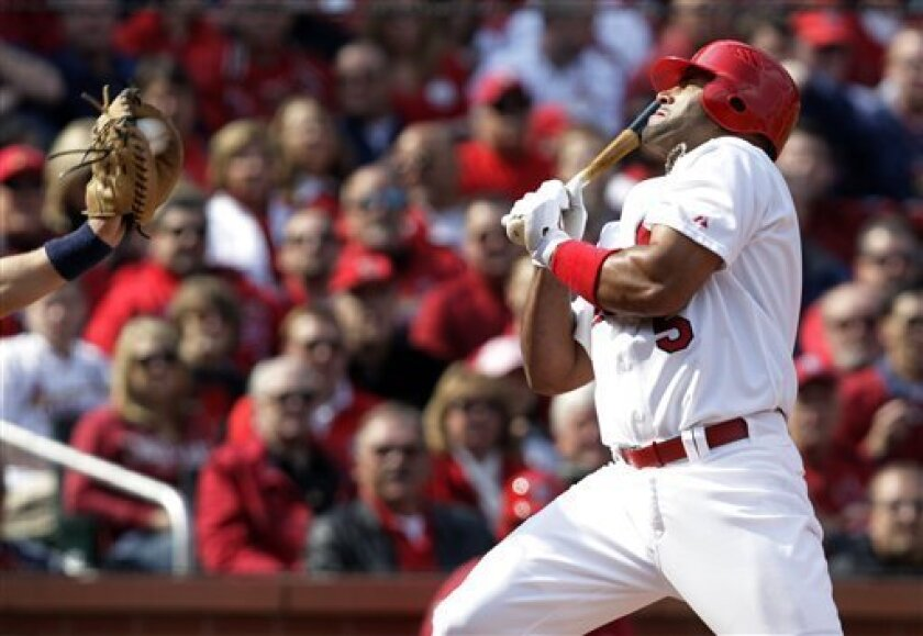 St. Louis Cardinals' Albert Pujols, right, is brushed back by an inside pitch as San Diego Padres catcher Nick Hundley catches the ball during the first inning of a baseball game Thursday, March 31, 2011, in St. Louis. (AP Photo/Tom Gannam)