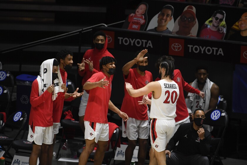 SDSU's Jordan Schakel (20) is congratulated by teammates in their 62-58 win against Boise State on Saturday.