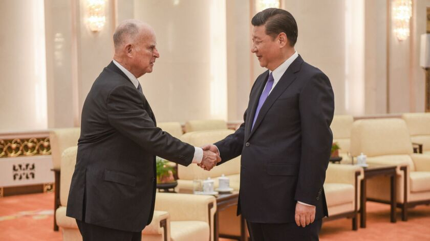 Gov. Jerry Brown meets with Chinese President Xi Jinping in China.