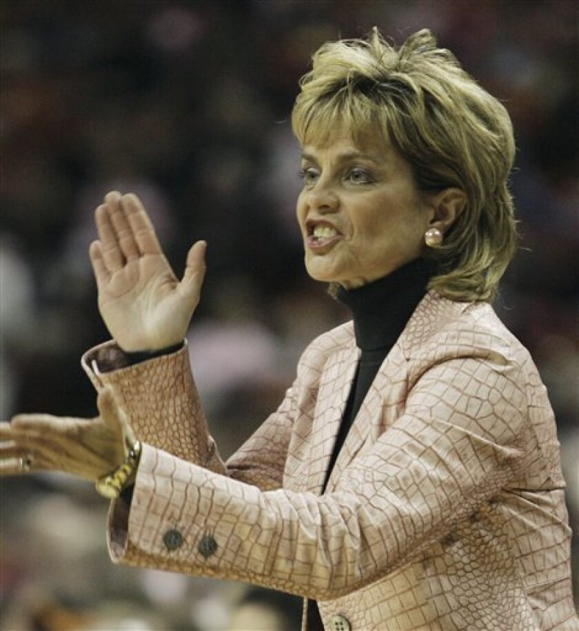 Baylor coach Kim Mulkey shouts instructions during the first half of a women's NCAA college basketball game against Texas on Sunday, Jan. 31, 2010, in Austin, Texas. (AP Photo/Harry Cabluck)
