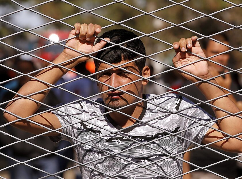 A refugee looks through the fence at the registration center and camp in Opatovac, Croatia, near the border with Serbia, on Sept. 21.