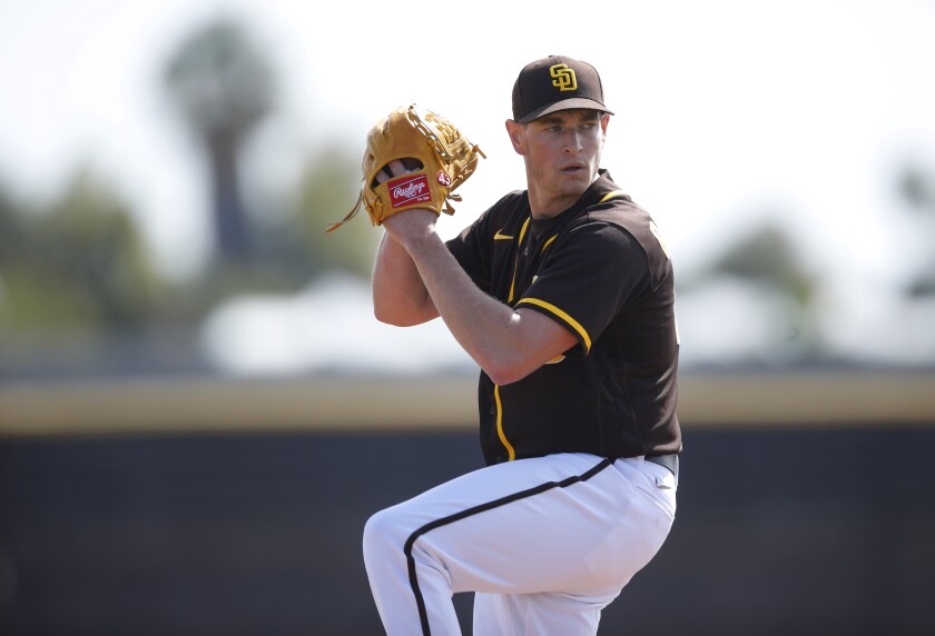 San Diego Padres Garrett Richards pitches during a spring training practice on Feb. 21, 2020.