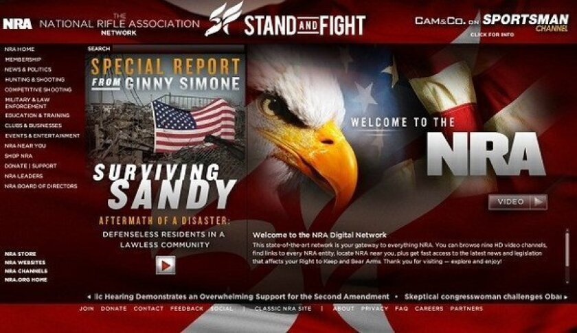 The NRA's website, which organizingforaction.net redirects to after the pro-Obama advocacy group failed to register the domain.