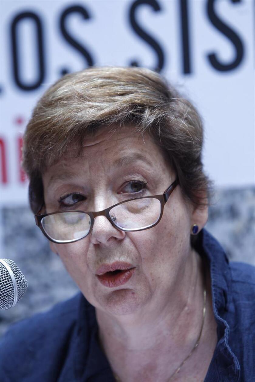 La directora ejecutiva de Save Children México, María Josefina Menéndez Carbajal, participa en una rueda de prensa hoy, martes 20 de marzo de 2018, en Ciudad de México (México). EFE