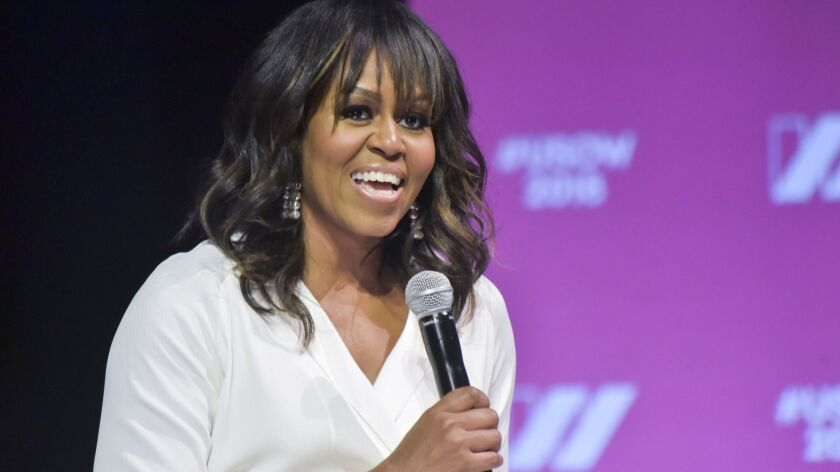 Michelle Obama at the United State of Women Summit on May 5. She will appear at the American Library Assn. conference in June.