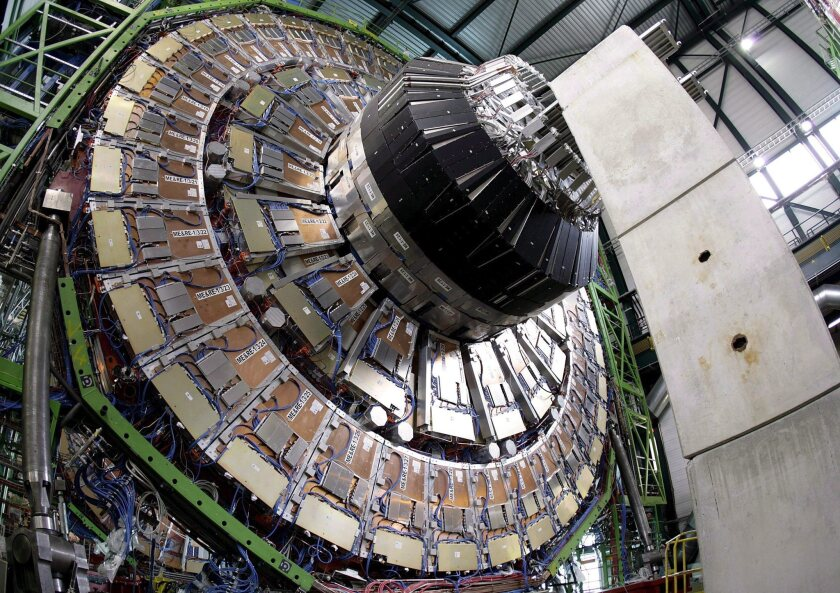 A 2007 photo shows the magnet core of the world's largest superconducting solenoid magnet at CERN's Large Hadron Collider particle accelerator.