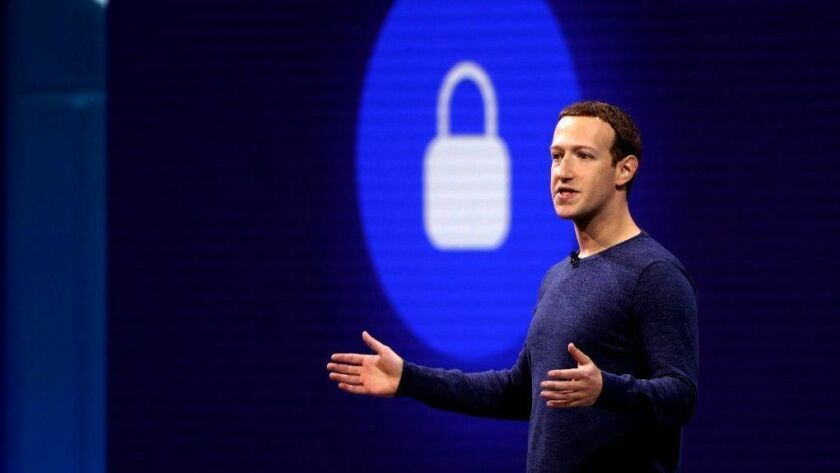 Facebook Chairman and CEO Mark Zuckerberg makes the keynote speech at Facebook's developer conference on May 1 in San Jose.