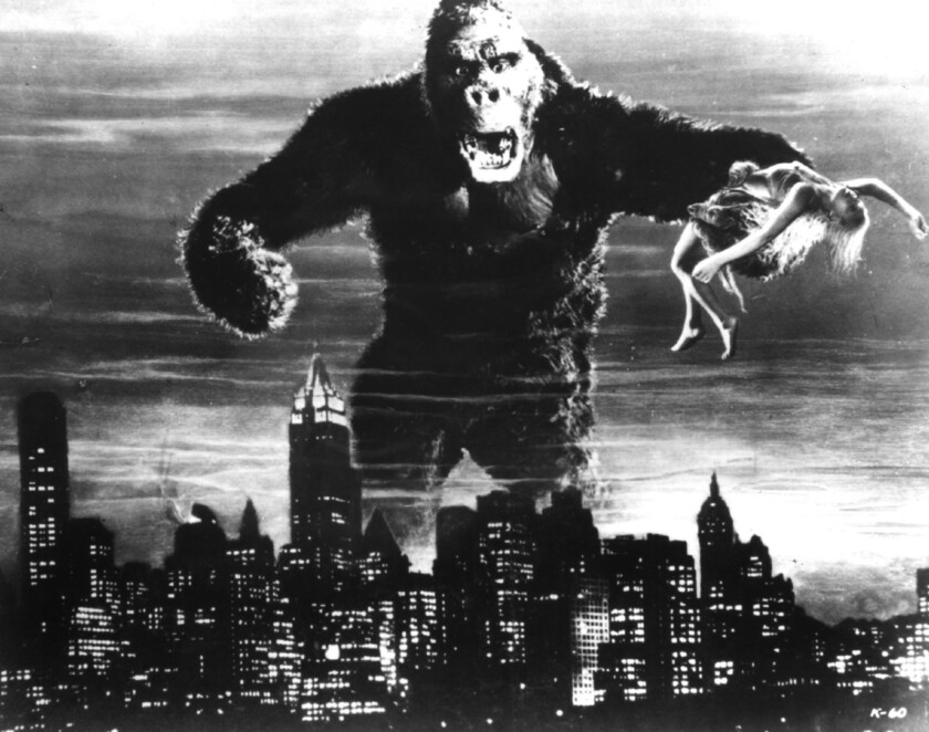 """King Kong appears with actress Fay Wray in hand in a scene from the classic 1933 film """"King Kong."""""""