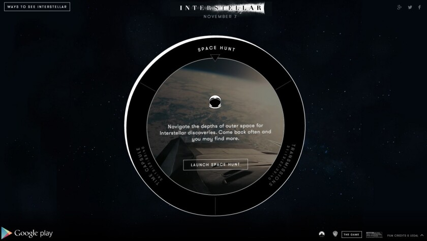 """Google and Paramount Pictures launched a multi-platform destination on Friday called the """"Interstellar Space Hub"""" to promote Christopher Nolan's upcoming film """"Interstellar."""""""