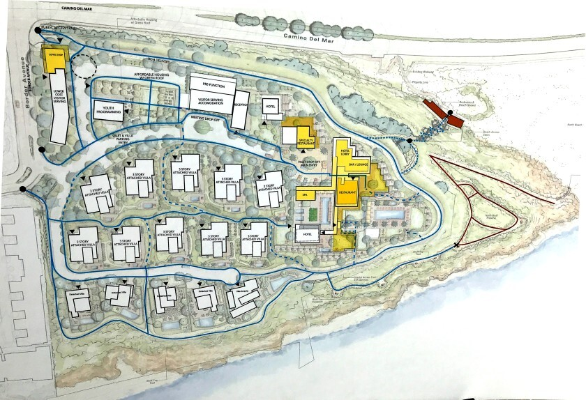 The revised site plan for Marisol, a 17-acre development on a Del Mar bluff near Solana Beach, was on display during a news conference Monday, Aug. 5.