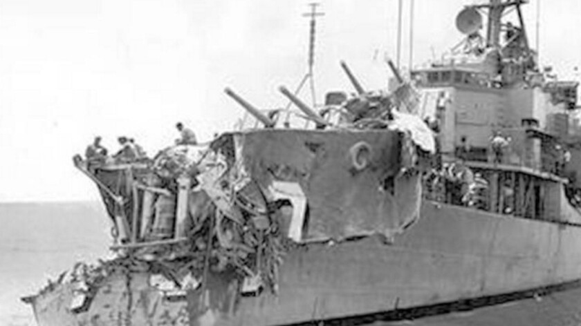 The demolished bow of the destroyer USS Collett
