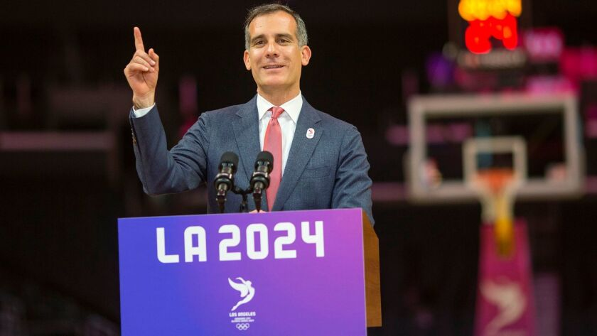 Mayor Eric Garcetti, pictured in May, has signaled a willingness to see Los Angeles host the 2028 Summer Olympics, even while pursuing the 2024 Games.