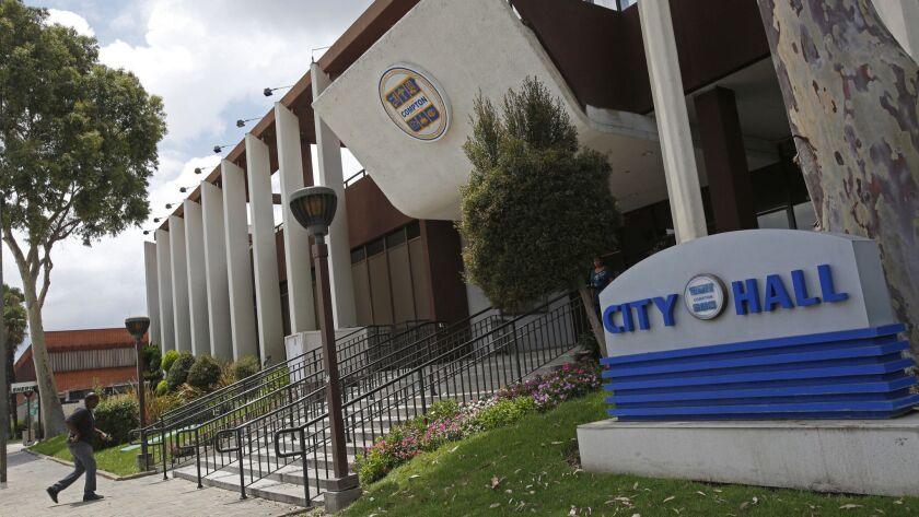 Weak financial oversight and rampant overspending by the city of Compton turned a general fund surplus of $22.4 million a decade ago into a deficit of $42.7 million just three years later, according to a state audit. Above, Compton City Hall.