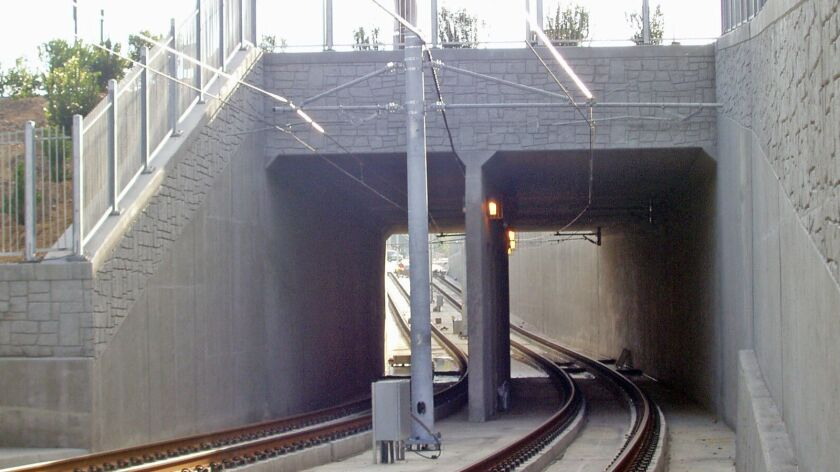When completed, the underpass being built at La Jolla Colony Drive will look similar to this 70th Street underpass used by the Trolley Green Line.
