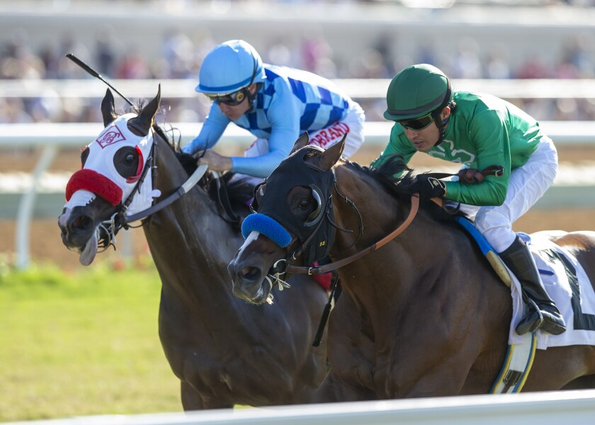 In this image provided by Benoit Photo, Kingly, right, with Mario Gutierrez aboard, outlegs Neptune's Storm, left, with Drayden Van Dyke aboard, to win the Grade III, $150,000 La Jolla Handicap horse race Sunday, Aug. 4, 2019, at Del Mar Thoroughbred Club in Del Mar, Calif. (Benoit Photo via AP)