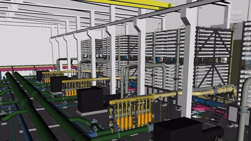 Rendering of proposed reverse-osmosis desalination plant planned in Rosarito Beach.