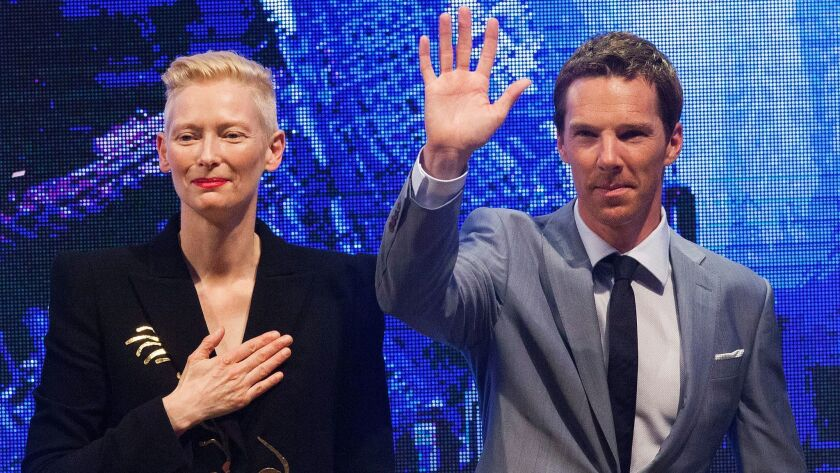 Tilda Swinton and Benedict Cumberbatch at a 'Doctor Strange' red carpet event in Hong Kong