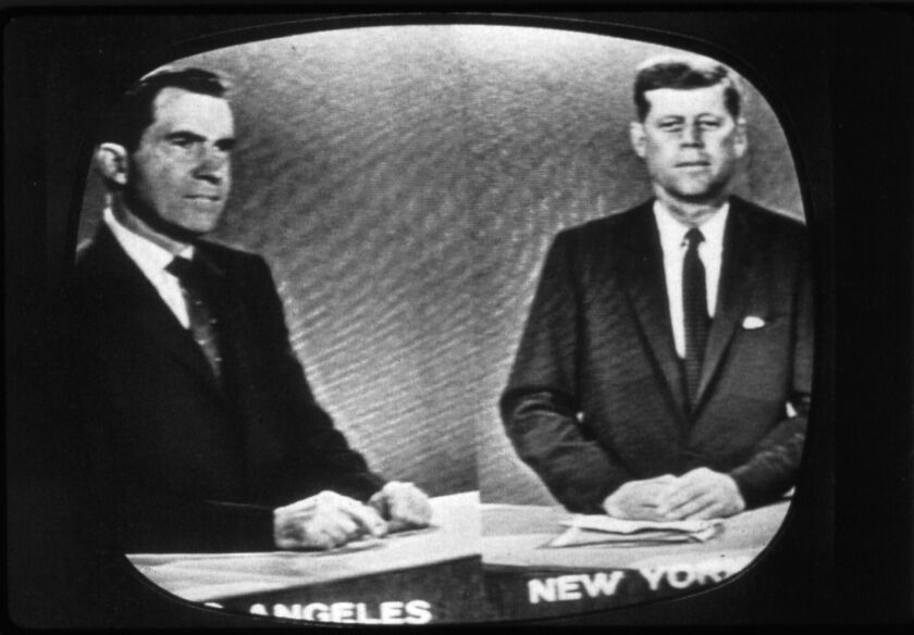 Richard Nixon in Los Angeles and John F. Kennedy in New York during their third presidential debate on Oct. 13, 1960.