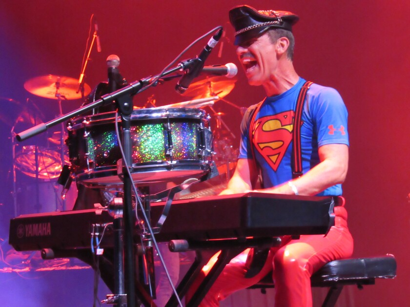 Greg Finsley, singer and pianist for the Queen tribute band Queen Nation, belts out a tune on Thursday, Sept. 12, at the first concert in 10 years at The Magnolia in El Cajon.