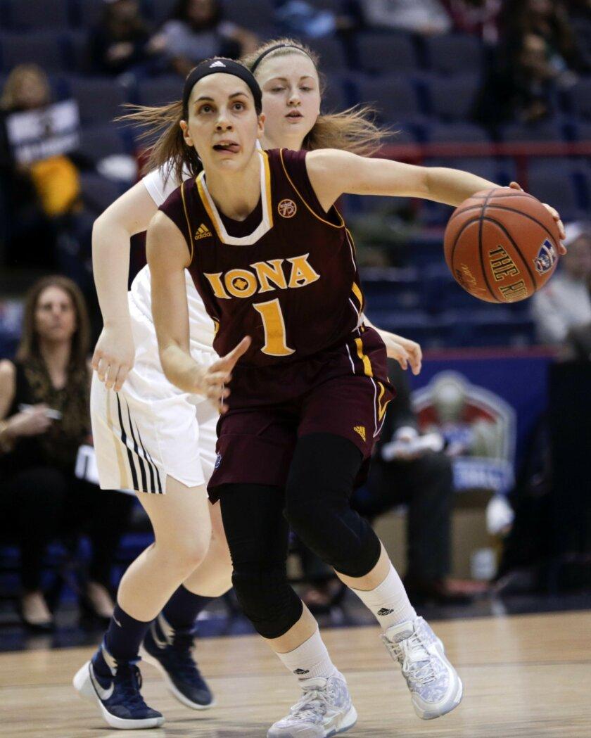 Iona guard Marina Lizarazu (1), of Spain, drives past Quinnipiac guard Edel Thornton during the first half of an NCAA women's college basketball game in the championship of the Metro Atlantic Athletic Conference tournament on Monday, March 7, 2016, in Albany, N.Y. (AP Photo/Mike Groll)