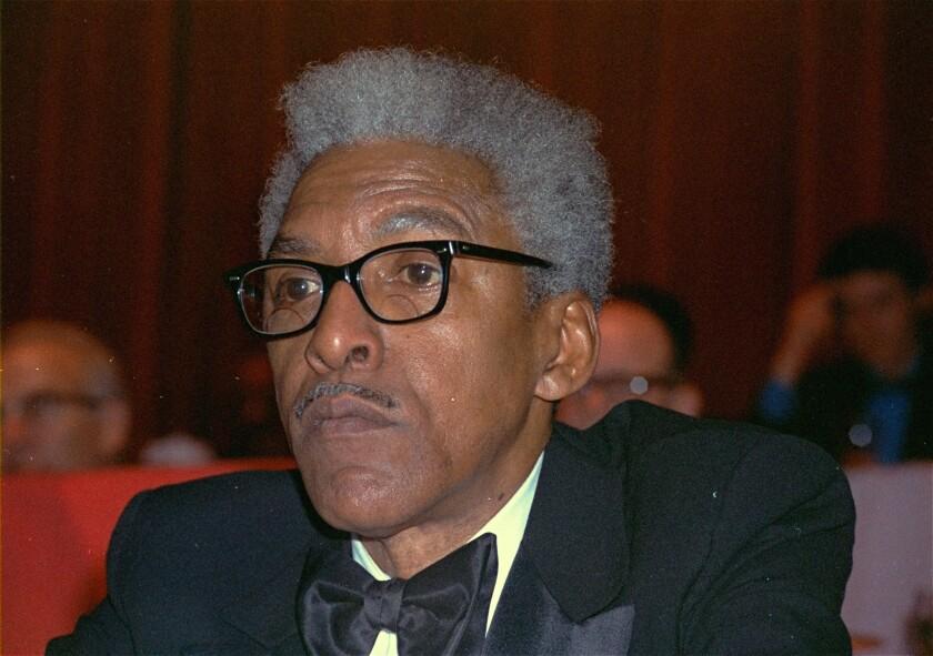 FILE - This Dec. 14, 1970, file photo shows civil rights leader Bayard Rustin at the New York Hilton.