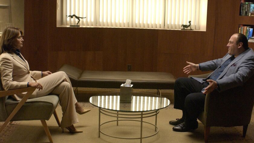 "Dr. Jennifer Melfi (Lorraine Bracco) counsels Tony Soprano (James Gandolfini) in ""The Sopranos."""