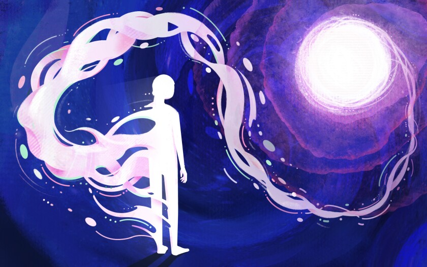 Illustration of a human figure whose soul is swirling to the light.