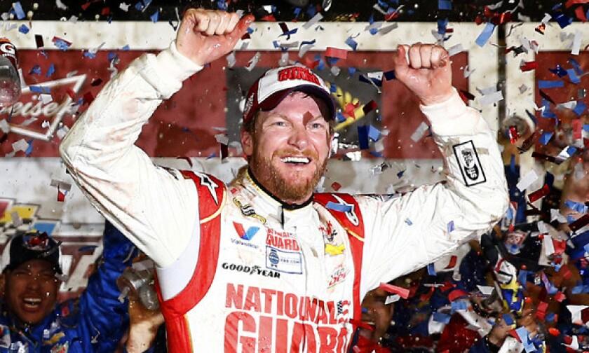 NASCAR Sprint Cup driver Dale Earnhardt Jr. celebrates after winning the Daytona 500 on Sunday.