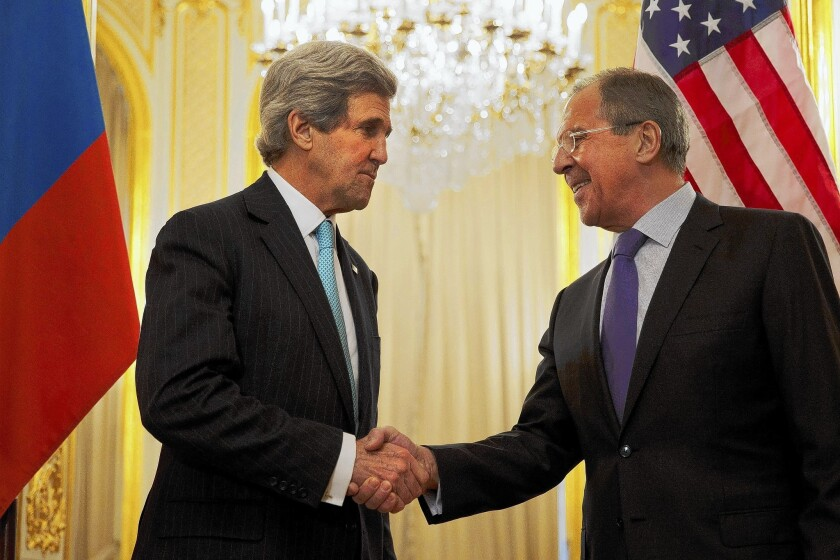 Secretary of State John F. Kerry meets with Russian diplomat Sergei Lavrov