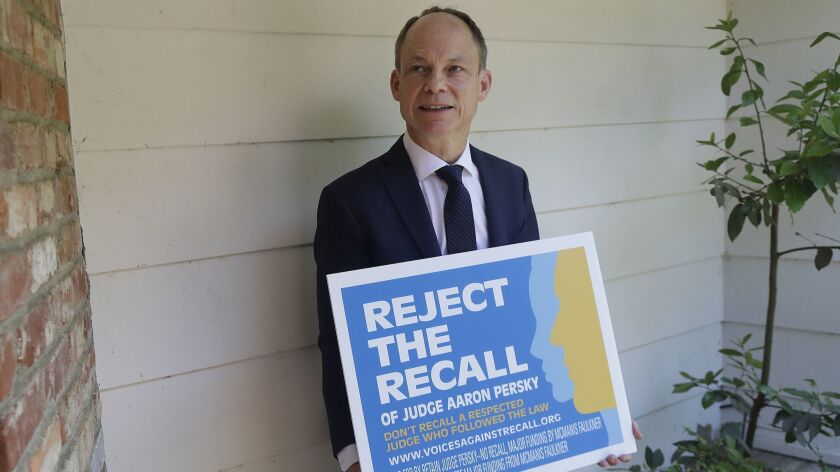 In this May 15, 2018 photo, Judge Aaron Persky poses for photos while being interviewed in Los Altos
