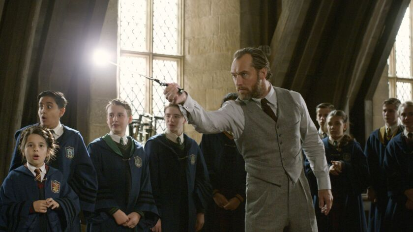 "This image released by Warner Bros. Pictures shows Jude Law in a scene from ""Fantastic Beasts: The C"
