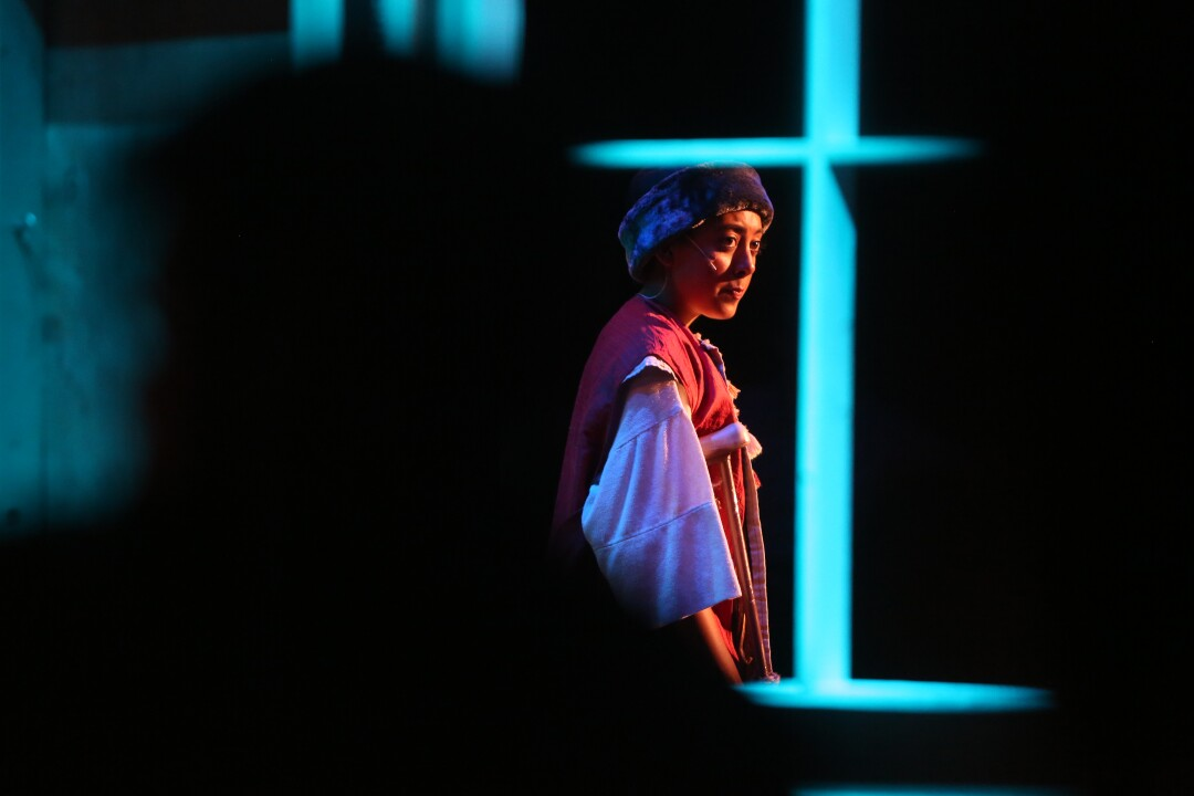 """Monique Ramirez performs during a final dress rehearsal of """"Amahl and the Night Visitors,"""" at LA County High School for the Arts on November 15, 2019."""