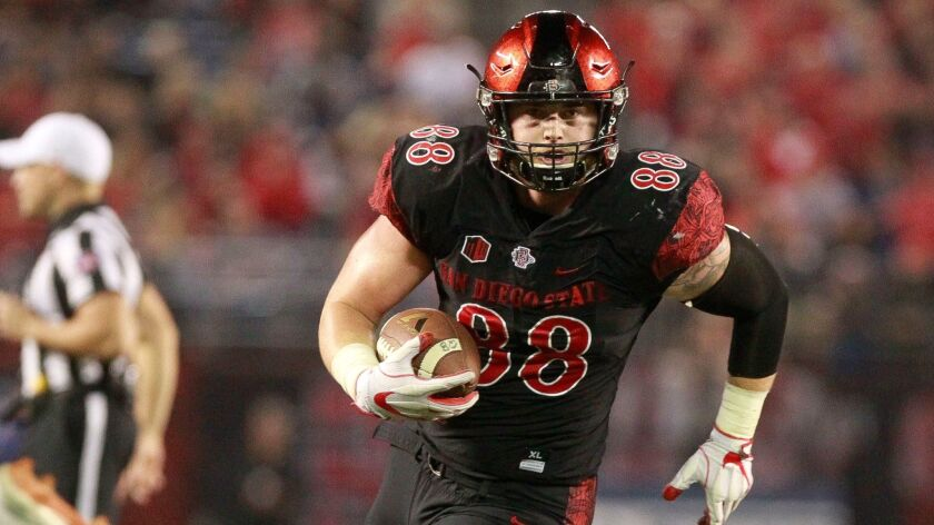 San Diego State tight end David Wells will be playing for the West team in Saturday's East-West Shrine Game for college seniors.