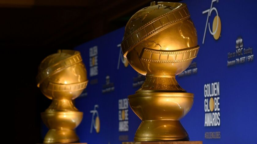 Golden Globe statues appear on stage prior to the nominations for the 75th Annual Golden Globe Awards in Beverly Hills, Calif. on Dec. 11, 2017.