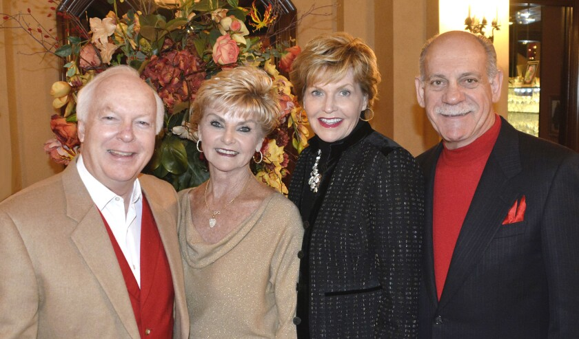 Former-Burbank Mayor Bob Bowne and his wife Dianne, left, and Vic and Sue Georgino, arriving at the