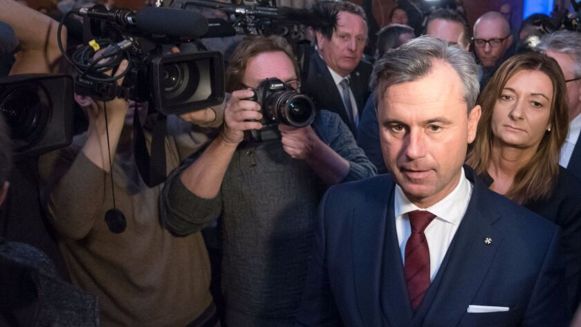 Norbert Hofer, presidential candidate of Austria's right-wing Freedom Party, arrives for a campaign rally Dec. 2 in Vienna.